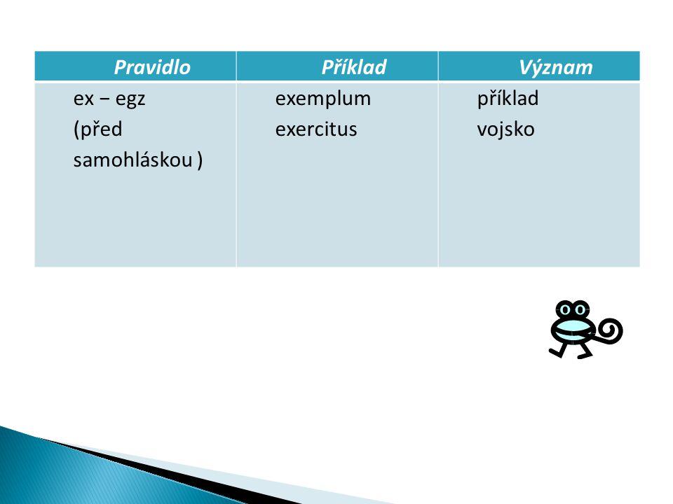 PravidloPříkladVýznam ex − egz (před samohláskou ) exemplum exercitus příklad vojsko