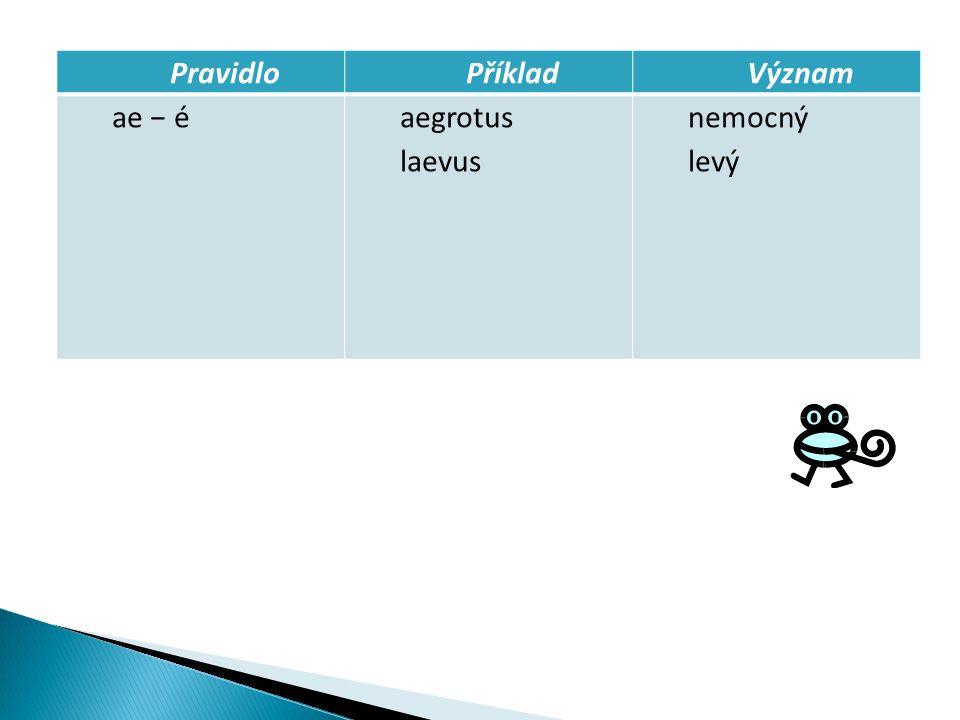 PravidloPříkladVýznam ae − éaegrotus laevus nemocný levý