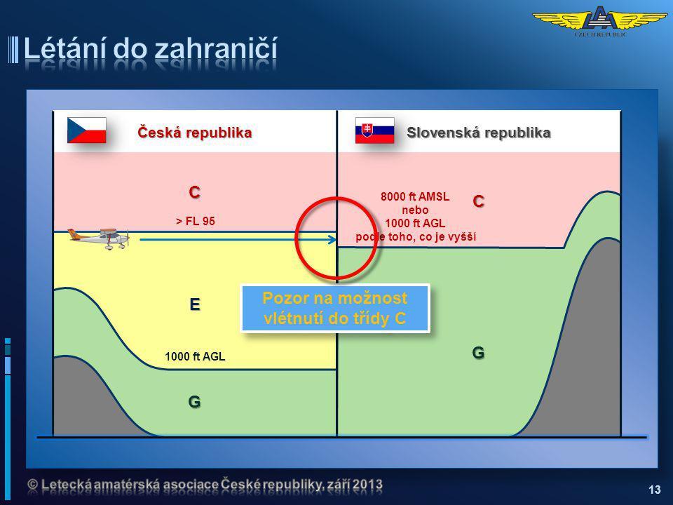 13 C Slovenská republika G 8000 ft AMSL nebo 1000 ft AGL podle toho, co je vyšší C E Česká republika G > FL 95 1000 ft AGL Pozor na možnost vlétnutí d