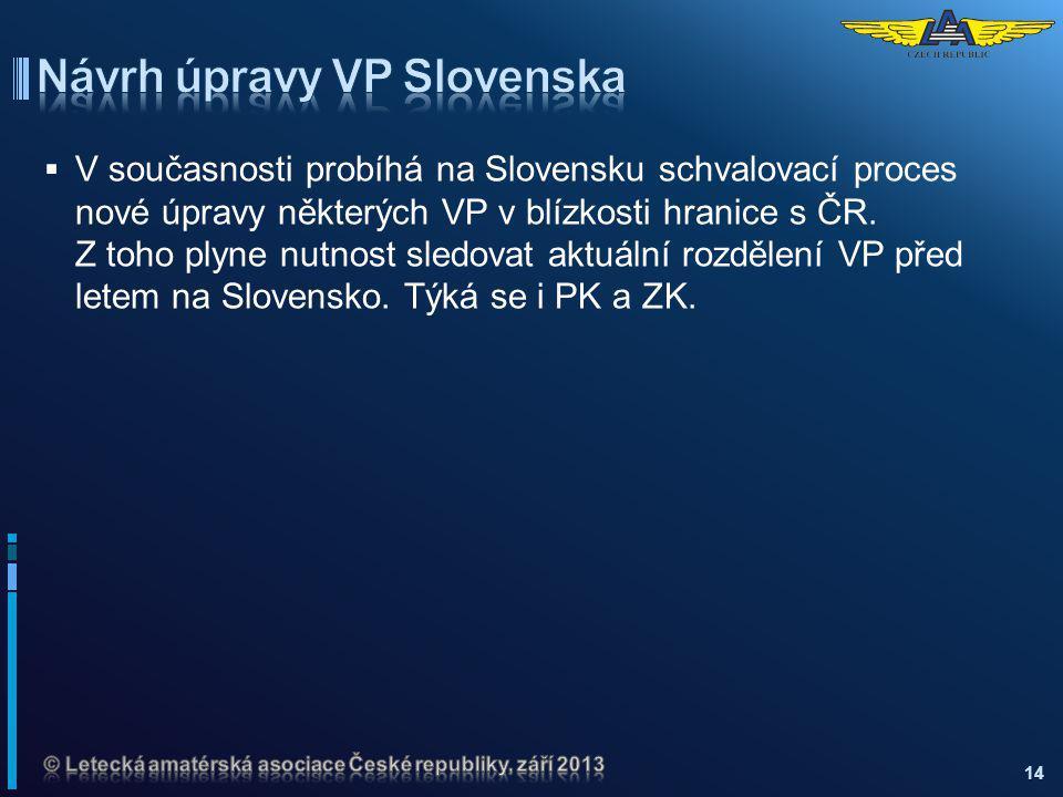 V současnosti probíhá na Slovensku schvalovací proces nové úpravy některých VP v blízkosti hranice s ČR. Z toho plyne nutnost sledovat aktuální rozd