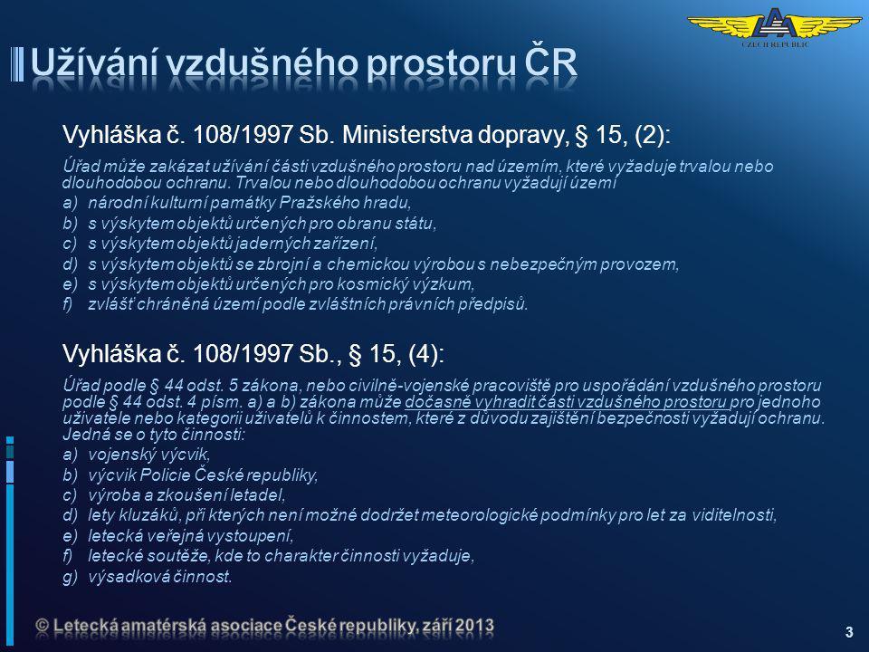 Vyhláška č. 108/1997 Sb. Ministerstva dopravy, § 15, (2): Úřad může zakázat užívání části vzdušného prostoru nad územím, které vyžaduje trvalou nebo d