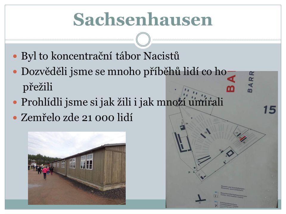 Sachsenhausen Byl to koncentrační tábor Nacistů Dozvěděli jsme se mnoho příběhů lidí co ho přežili Prohlídli jsme si jak žili i jak mnozí umírali Zemř