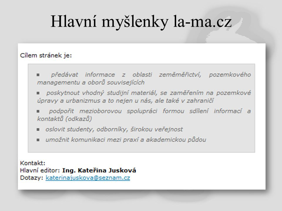 Hlavní myšlenky la-ma.cz
