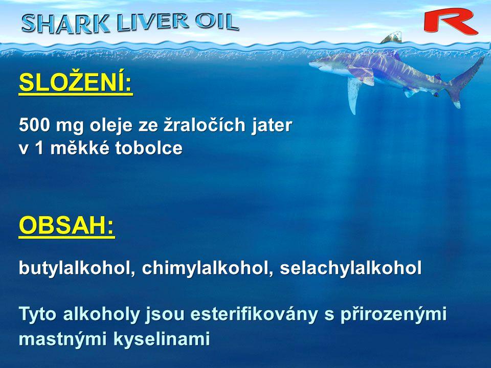 SLOŽENÍ: 500 mg oleje ze žraločích jater v 1 měkké tobolce SLOŽENÍ: 500 mg oleje ze žraločích jater v 1 měkké tobolce OBSAH: butylalkohol, chimylalkoh