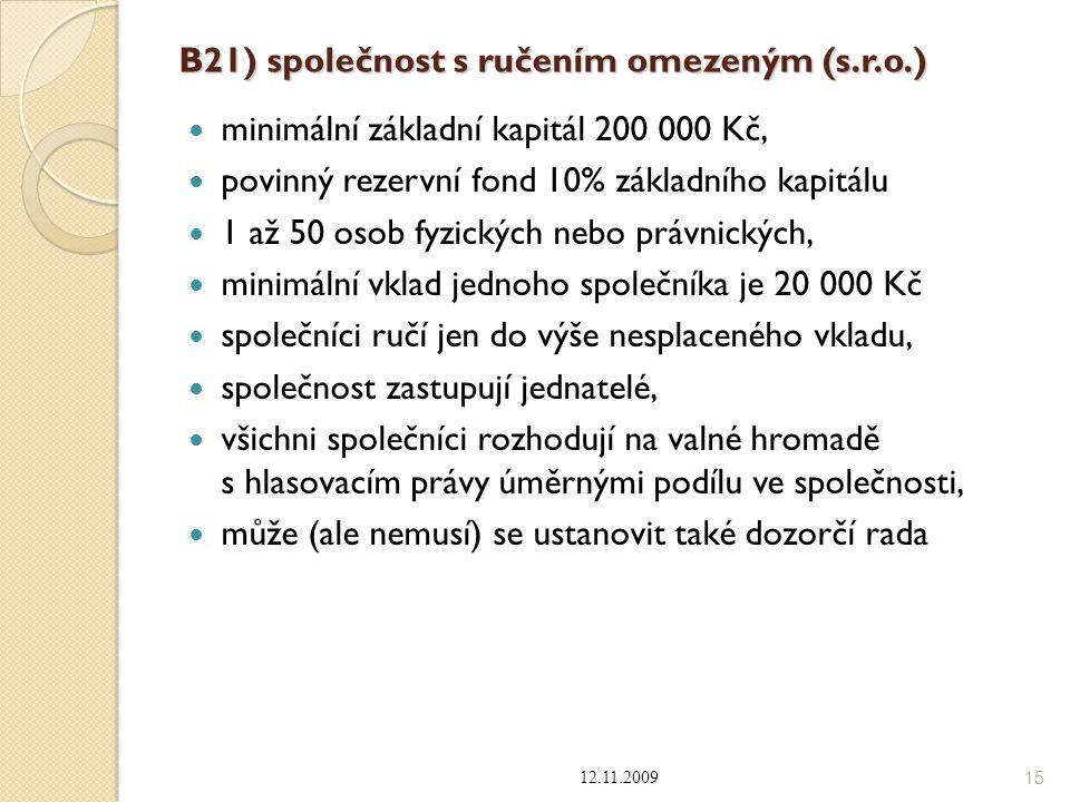 B21) společnost s ručením omezeným (s.r.o.) minimální základní kapitál 200 000 Kč, povinný rezervní fond 10% základního kapitálu 1 až 50 osob fyzickýc