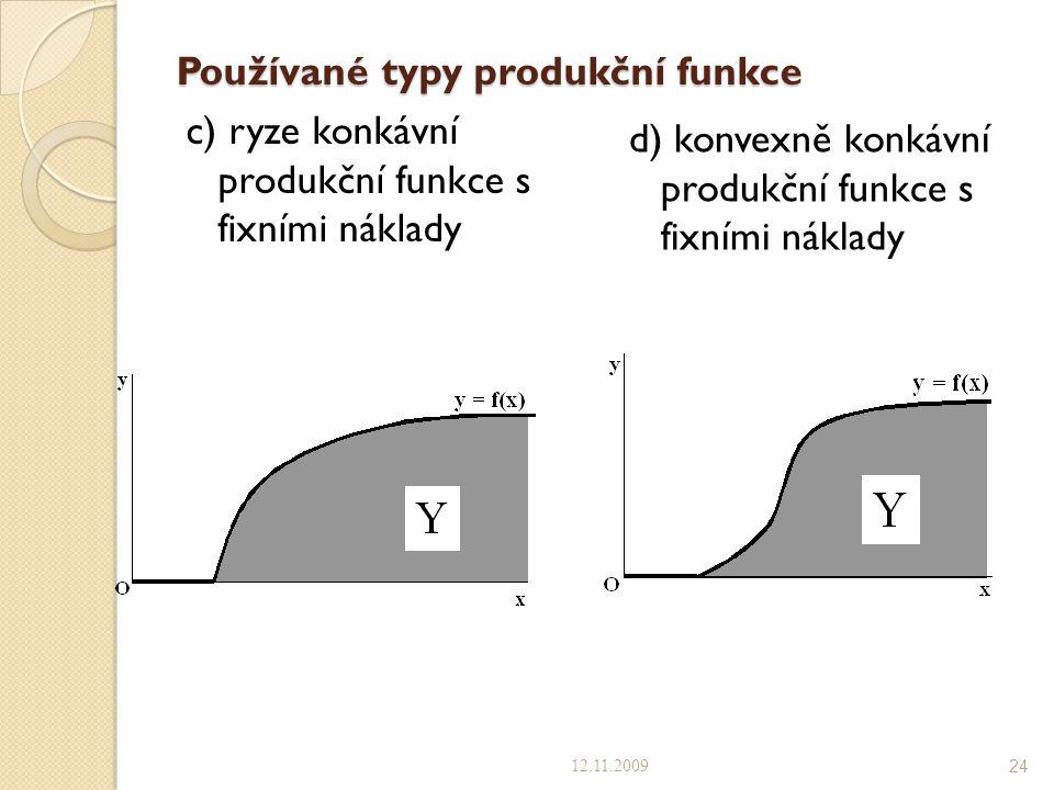 Používané typy produkční funkce c) ryze konkávní produkční funkce s fixními náklady d) konvexně konkávní produkční funkce s fixními náklady 12.11.2009