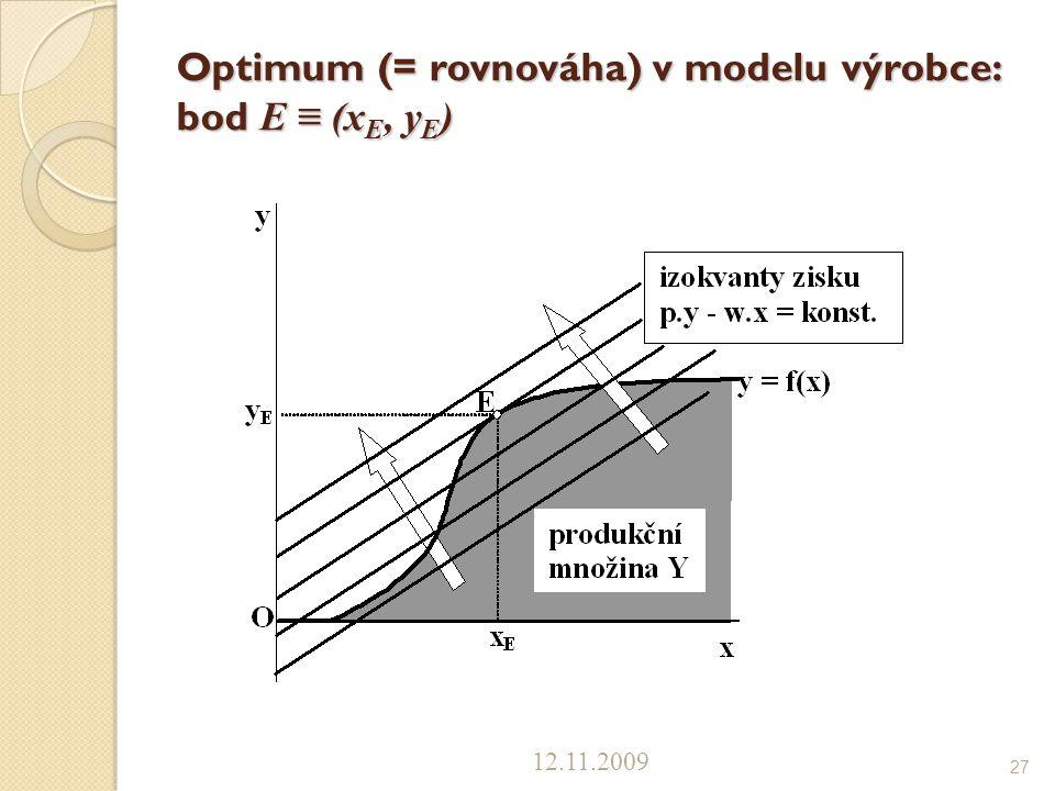 Optimum (= rovnováha) v modelu výrobce: bod E ≡ (x E, y E ) 12.11.2009 27