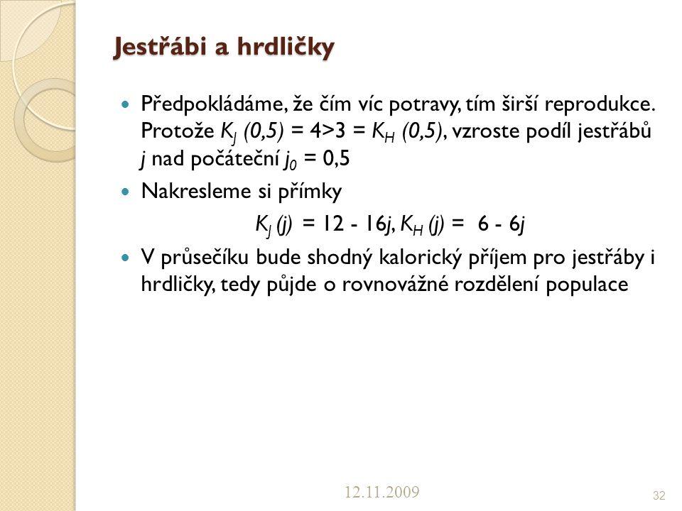 Jestřábi a hrdličky Předpokládáme, že čím víc potravy, tím širší reprodukce. Protože K J (0,5) = 4>3 = K H (0,5), vzroste podíl jestřábů j nad počáteč