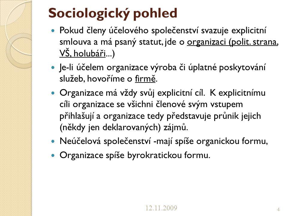 Sociologický pohled Pokud členy účelového společenství svazuje explicitní smlouva a má psaný statut, jde o organizaci (polit. strana, VŠ, holubáři...)