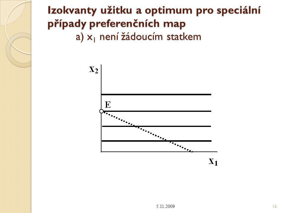Izokvanty užitku a optimum pro speciální případy preferenčních map a) x 1 není žádoucím statkem 5.11.2009 16