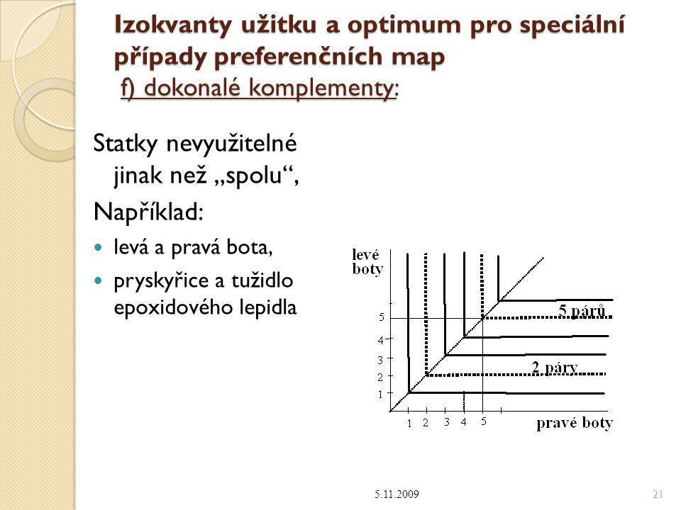 """Izokvanty užitku a optimum pro speciální případy preferenčních map f) dokonalé komplementy: Statky nevyužitelné jinak než """"spolu"""", Například: levá a p"""