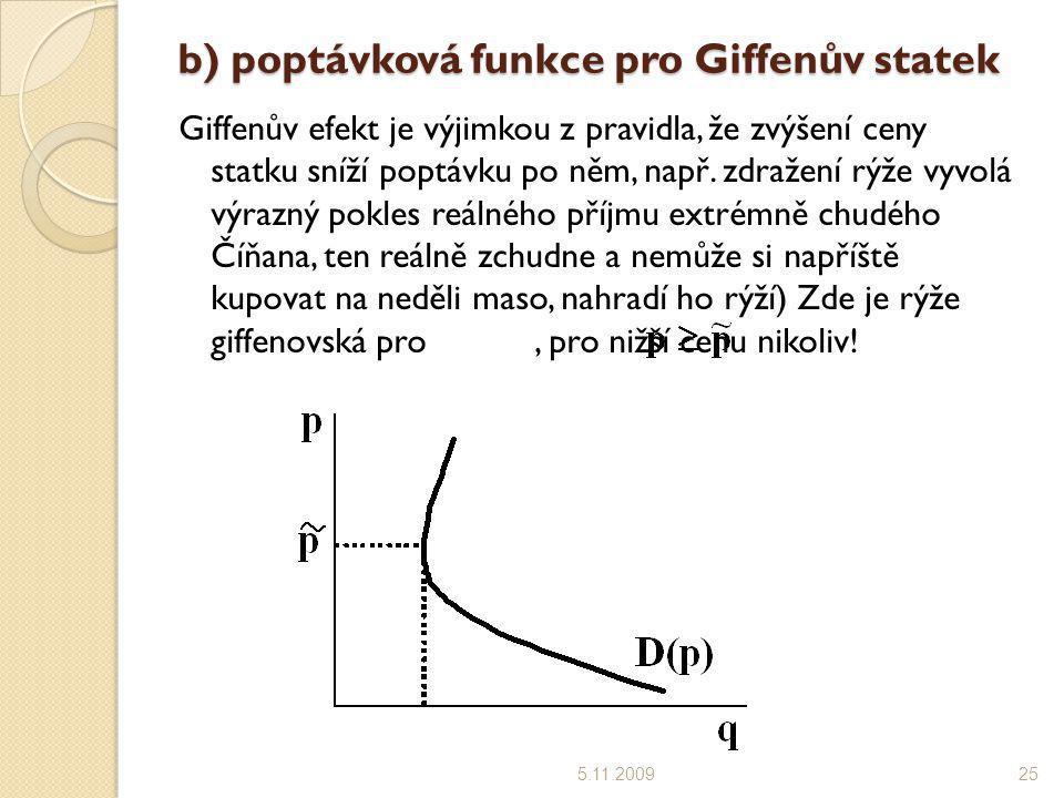 b) poptávková funkce pro Giffenův statek 5.11.200925 Giffenův efekt je výjimkou z pravidla, že zvýšení ceny statku sníží poptávku po něm, např. zdraže