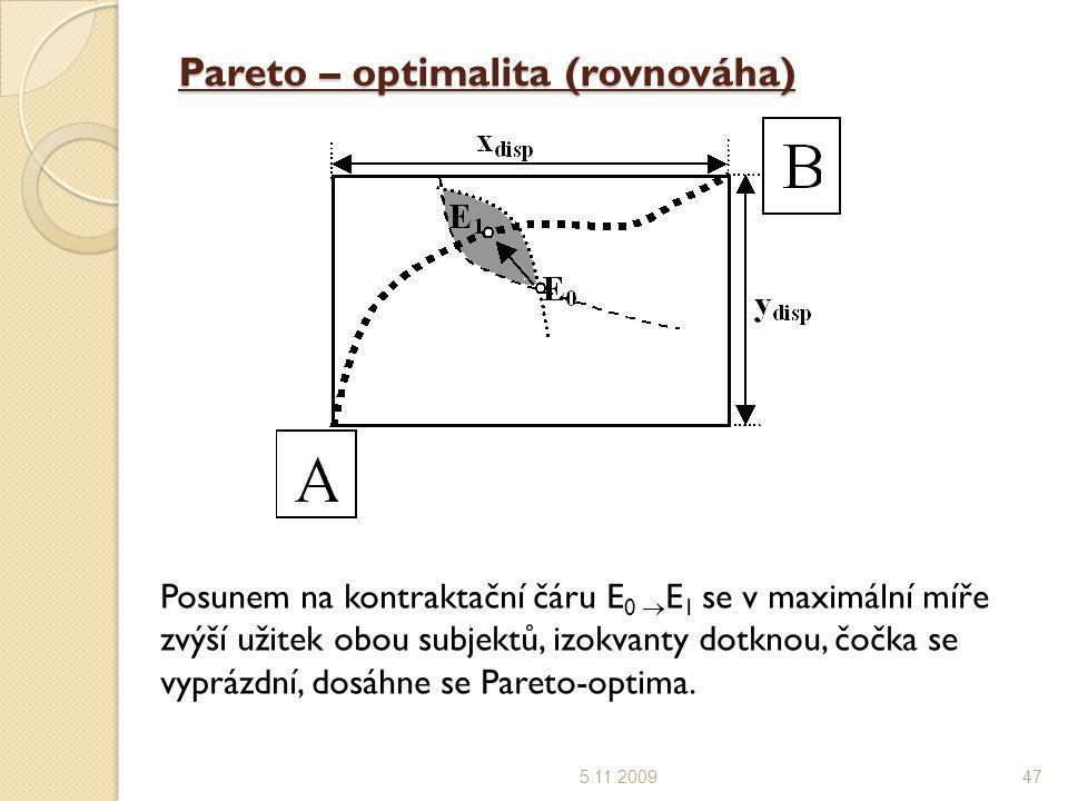 Pareto – optimalita (rovnováha) 5.11.200947 Posunem na kontraktační čáru E 0  E 1 se v maximální míře zvýší užitek obou subjektů, izokvanty dotknou,