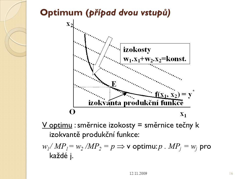 Optimum (případ dvou vstupů) V optimu : směrnice izokosty = směrnice tečny k izokvantě produkční funkce: w 1 / MP 1 = w 2 /MP 2 = p  v optimu: p. MP