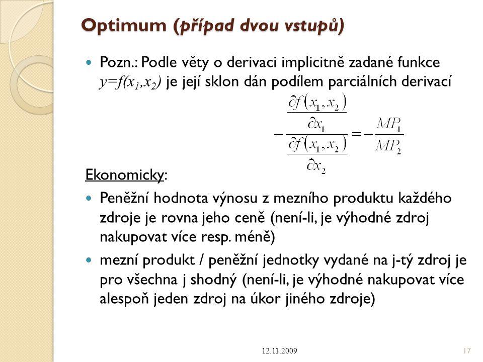 Optimum (případ dvou vstupů) Pozn.: Podle věty o derivaci implicitně zadané funkce y=f(x 1,x 2 ) je její sklon dán podílem parciálních derivací Ekonom