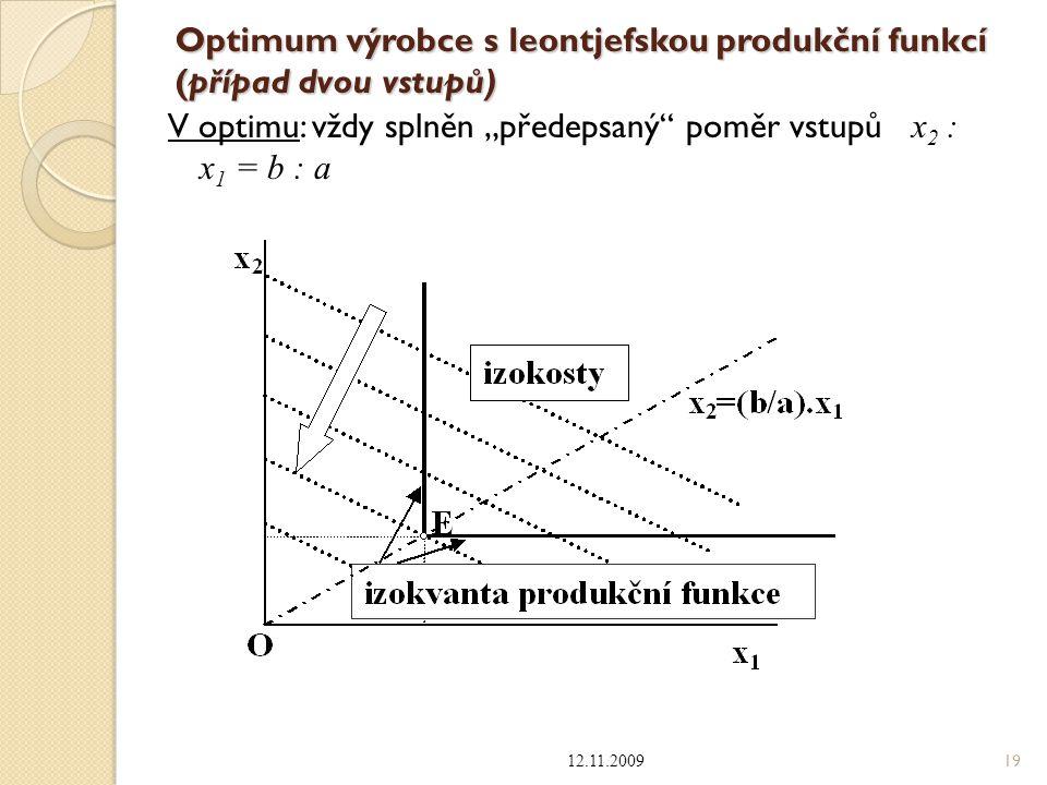 """Optimum výrobce s leontjefskou produkční funkcí (případ dvou vstupů) V optimu: vždy splněn """"předepsaný"""" poměr vstupů x 2 : x 1 = b : a 12.11.2009 19"""