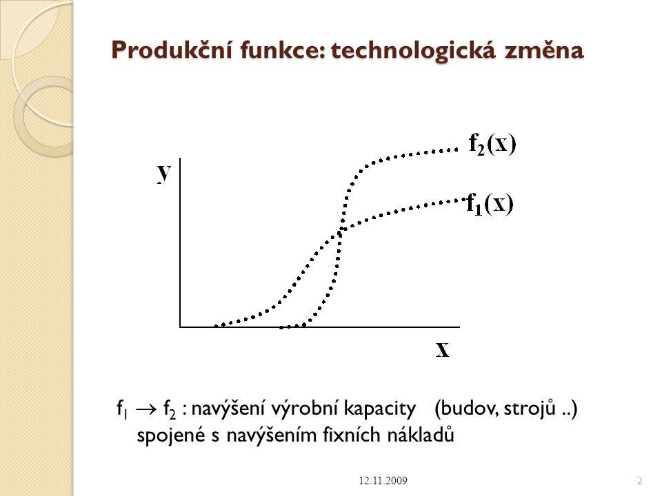 Produkční funkce: technologická změna f 1  f 2 : navýšení výrobní kapacity (budov, strojů..) spojené s navýšením fixních nákladů 12.11.2009 2