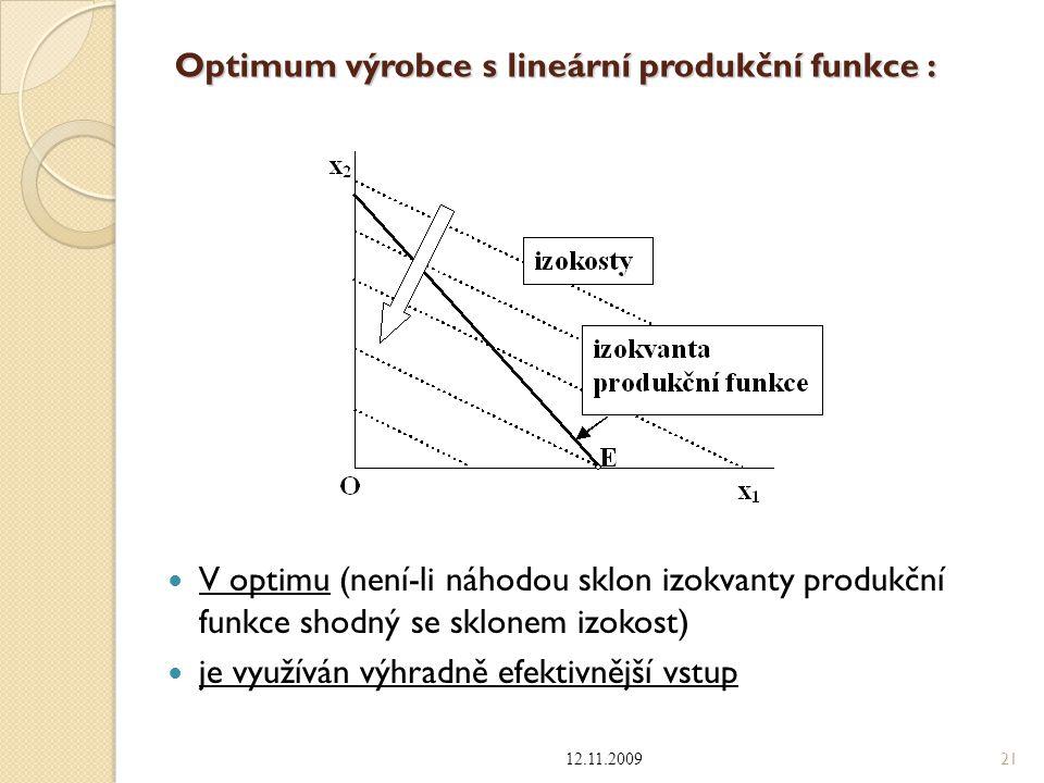 Optimum výrobce s lineární produkční funkce : V optimu (není-li náhodou sklon izokvanty produkční funkce shodný se sklonem izokost) je využíván výhrad