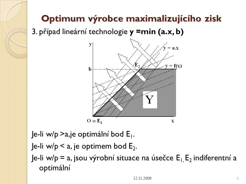 Optimum výrobce maximalizujícího zisk 3. případ lineární technologie y =min (a.x, b) Je-li w/p >a,je optimální bod E 1. Je-li w/p < a, je optimem bod