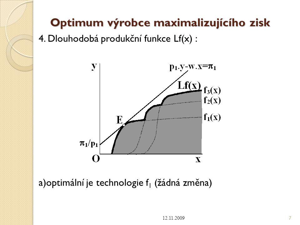Optimum výrobce maximalizujícího zisk 4. Dlouhodobá produkční funkce Lf(x) : a)optimální je technologie f 1 (žádná změna) 12.11.2009 7