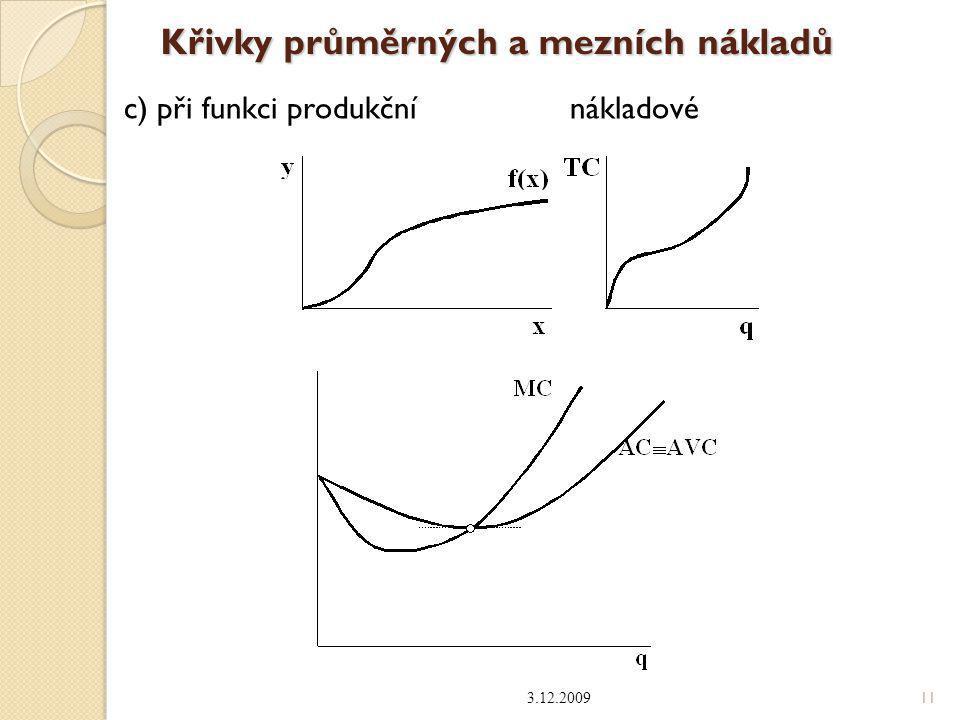 Křivky průměrných a mezních nákladů 3.12.2009 11 c) při funkci produkční nákladové