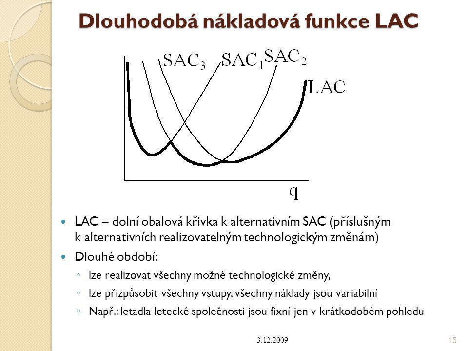Dlouhodobá nákladová funkce LAC LAC – dolní obalová křivka k alternativním SAC (příslušným k alternativních realizovatelným technologickým změnám) Dlo