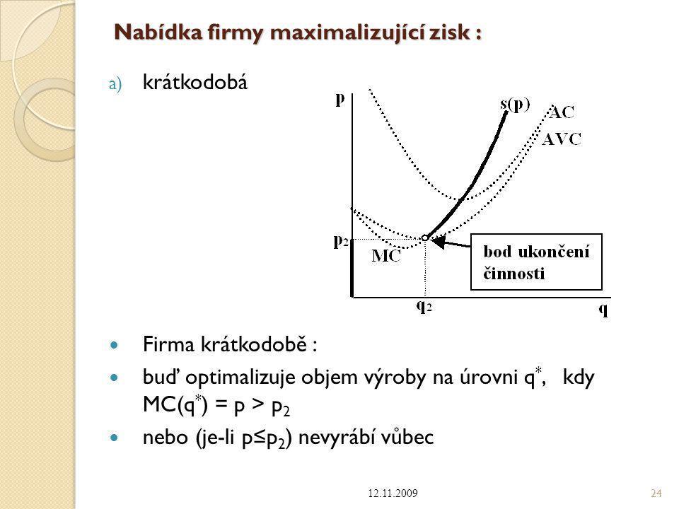 Nabídka firmy maximalizující zisk : b) dlouhodobá Firma dlouhodobě: buď optimalizuje objem výroby na úrovni q *, kdy MC(q * ) = p  p 1 nebo (je-li p < p 1 ) nevyrábí vůbec 12.11.2009 25
