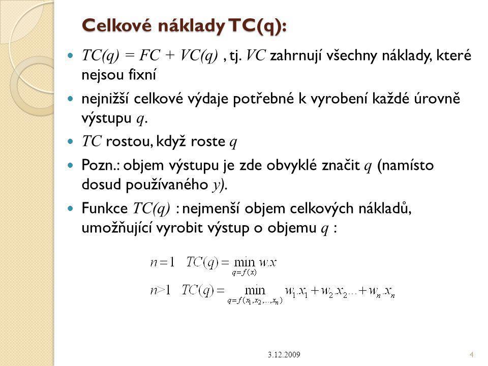 Celkové náklady TC(q): TC(q) = FC + VC(q), tj. VC zahrnují všechny náklady, které nejsou fixní nejnižší celkové výdaje potřebné k vyrobení každé úrovn