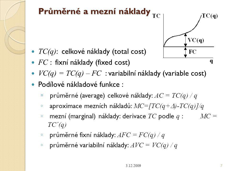 Průměrné a mezní náklady TC(q) : celkové náklady (total cost) FC : fixní náklady (fixed cost) VC(q) = TC(q) – FC : variabilní náklady (variable cost)