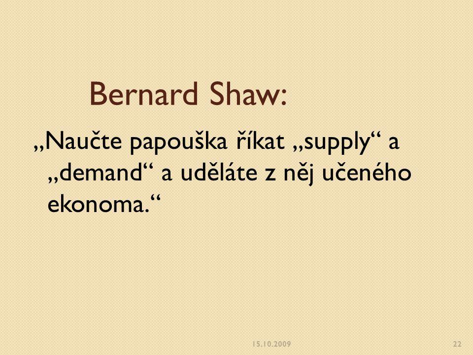 """Bernard Shaw: """"Naučte papouška říkat """"supply a """"demand a uděláte z něj učeného ekonoma. 15.10.200922"""