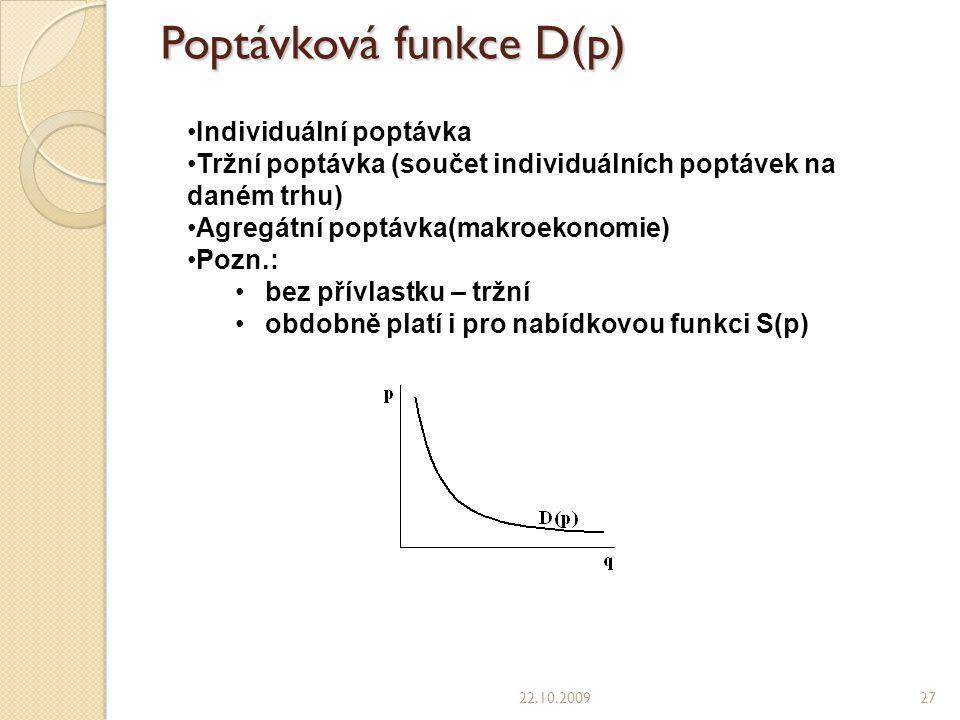 Poptávková funkce D(p) 22.10.200927 Individuální poptávka Tržní poptávka (součet individuálních poptávek na daném trhu) Agregátní poptávka(makroekonomie) Pozn.: bez přívlastku – tržní obdobně platí i pro nabídkovou funkci S(p)