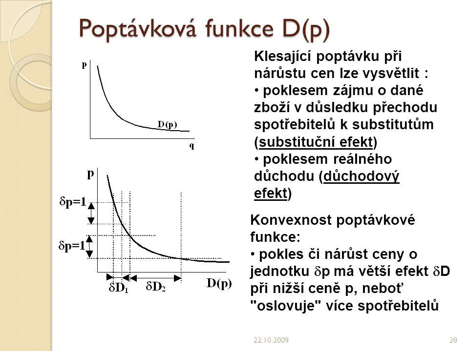 Poptávková funkce D(p) 22.10.200928 Klesající poptávku při nárůstu cen lze vysvětlit : poklesem zájmu o dané zboží v důsledku přechodu spotřebitelů k substitutům (substituční efekt) poklesem reálného důchodu (důchodový efekt) Konvexnost poptávkové funkce: pokles či nárůst ceny o jednotku  p má větší efekt  D při nižší ceně p, neboť oslovuje více spotřebitelů