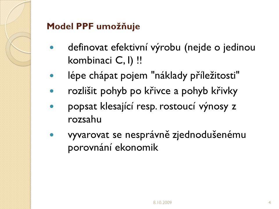 Model PPF umožňuje definovat efektivní výrobu (nejde o jedinou kombinaci C, I) !.