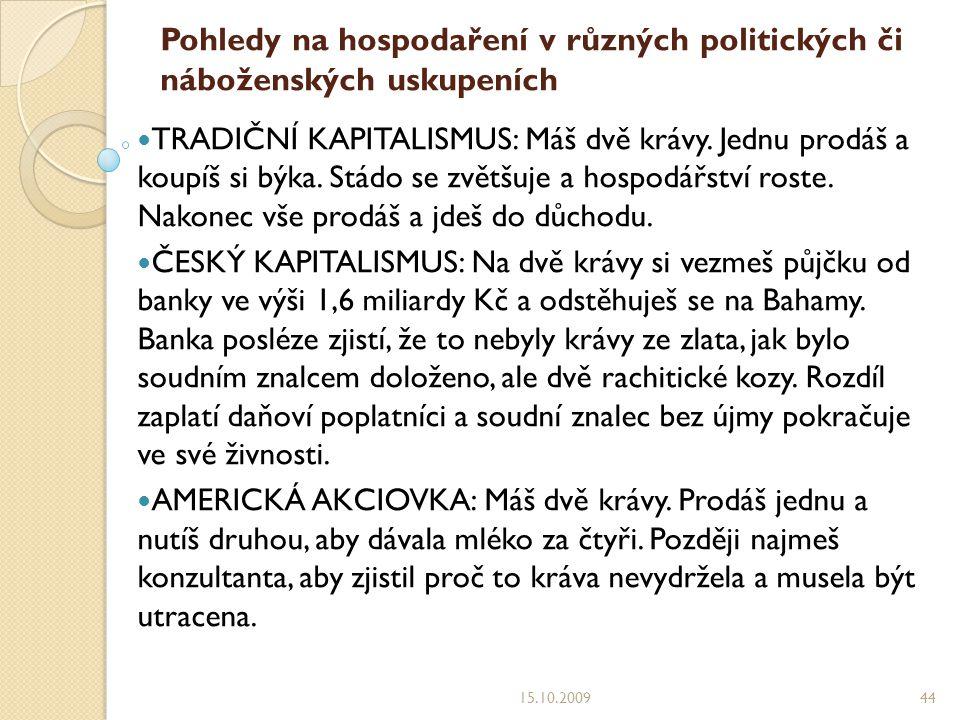 Pohledy na hospodaření v různých politických či náboženských uskupeních TRADIČNÍ KAPITALISMUS: Máš dvě krávy.