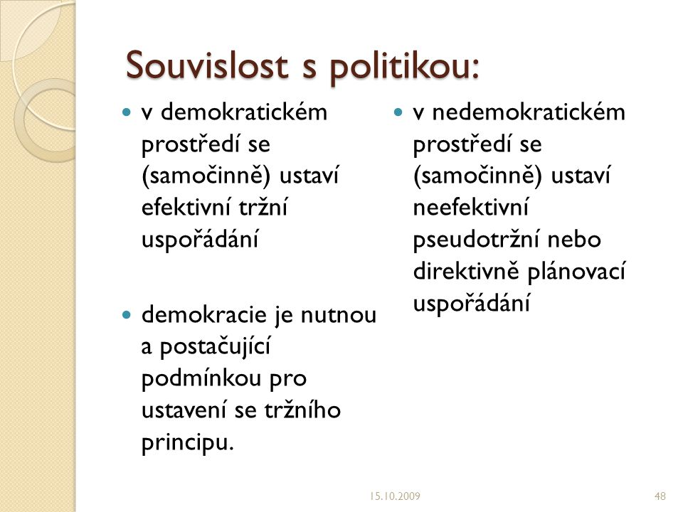 Souvislost s politikou: Souvislost s politikou: v demokratickém prostředí se (samočinně) ustaví efektivní tržní uspořádání demokracie je nutnou a postačující podmínkou pro ustavení se tržního principu.