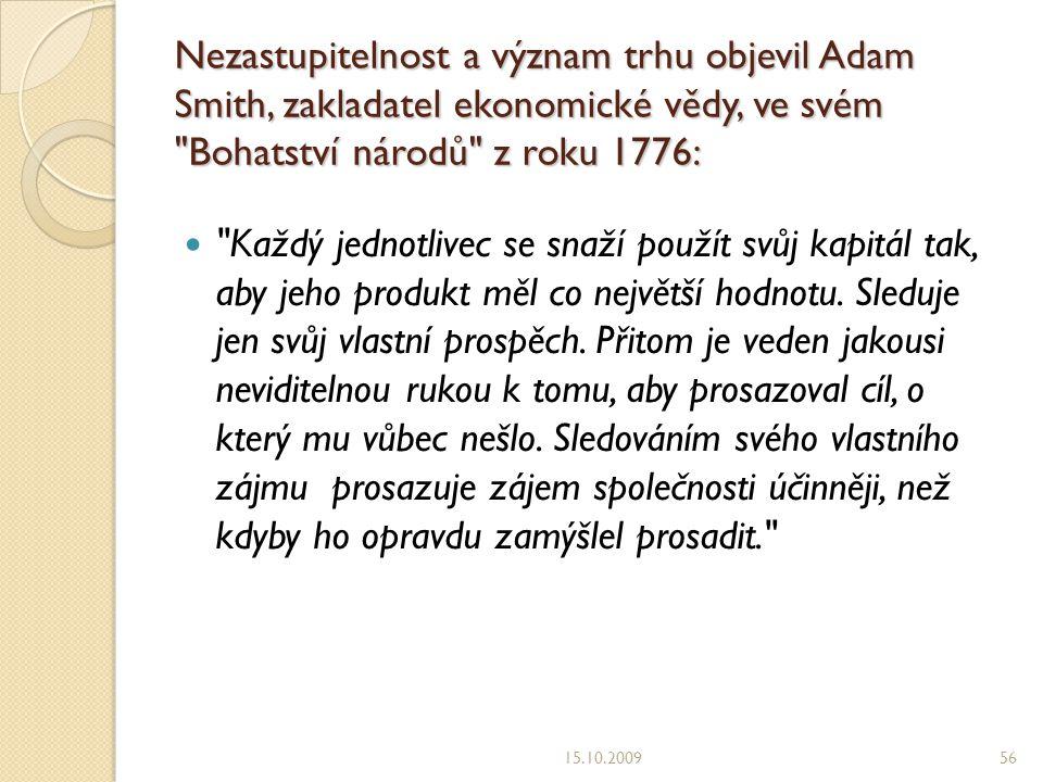 Nezastupitelnost a význam trhu objevil Adam Smith, zakladatel ekonomické vědy, ve svém Bohatství národů z roku 1776: Každý jednotlivec se snaží použít svůj kapitál tak, aby jeho produkt měl co největší hodnotu.