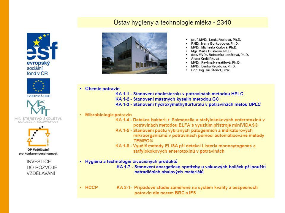 Ústav hygieny a technologie mléka - 2340 C hemie potravin KA 1-1 - Stanovení cholesterolu v potravinách metodou HPLC KA 1-2 - Stanovení mastných kysel