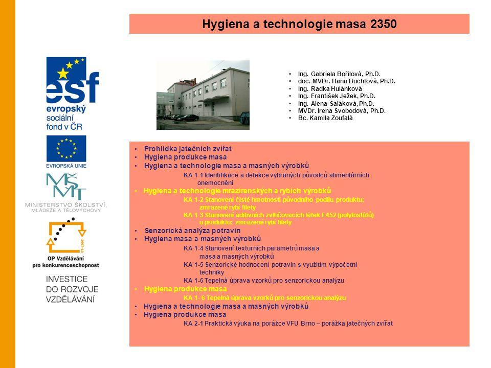 Hygiena a technologie masa 2350 Ing. Gabriela Bořilová, Ph.D. doc. MVDr. Hana Buchtová, Ph.D. Ing. Radka Hulánková Ing. František Ježek, Ph.D. Ing. Al