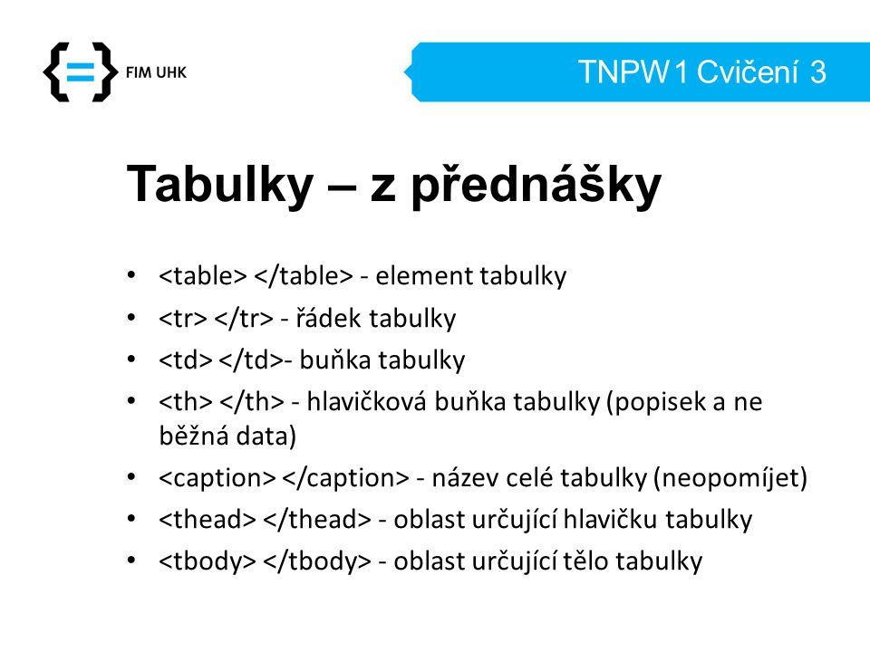TNPW1 Cvičení 3 Tabulky – z přednášky - element tabulky - řádek tabulky - buňka tabulky - hlavičková buňka tabulky (popisek a ne běžná data) - název celé tabulky (neopomíjet) - oblast určující hlavičku tabulky - oblast určující tělo tabulky