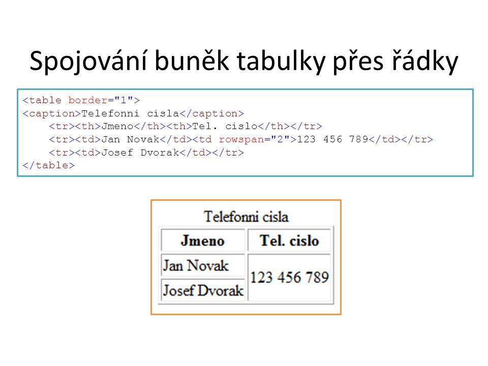 Spojování buněk tabulky přes řádky Telefonni cisla Jmeno Tel. cislo Jan Novak 123 456 789 Josef Dvorak