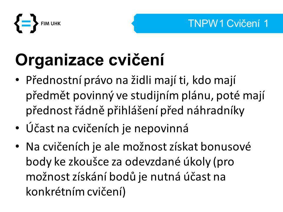 TNPW1 Cvičení 1 Organizace cvičení Přednostní právo na židli mají ti, kdo mají předmět povinný ve studijním plánu, poté mají přednost řádně přihlášení před náhradníky Účast na cvičeních je nepovinná Na cvičeních je ale možnost získat bonusové body ke zkoušce za odevzdané úkoly (pro možnost získání bodů je nutná účast na konkrétním cvičení)