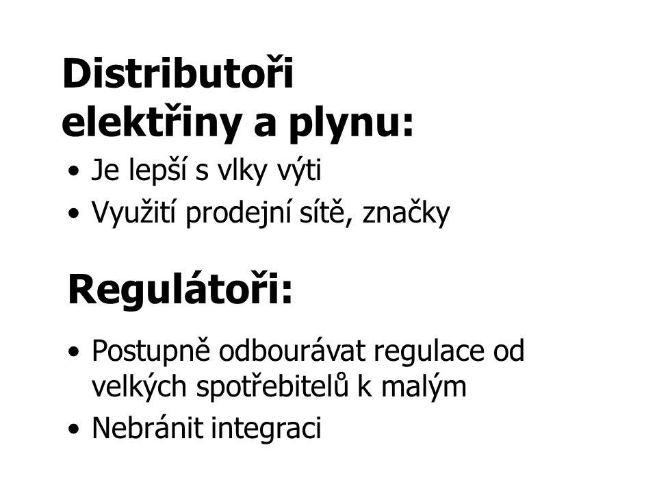 Distributoři elektřiny a plynu: Je lepší s vlky výti Využití prodejní sítě, značky Regulátoři: Postupně odbourávat regulace od velkých spotřebitelů k malým Nebránit integraci