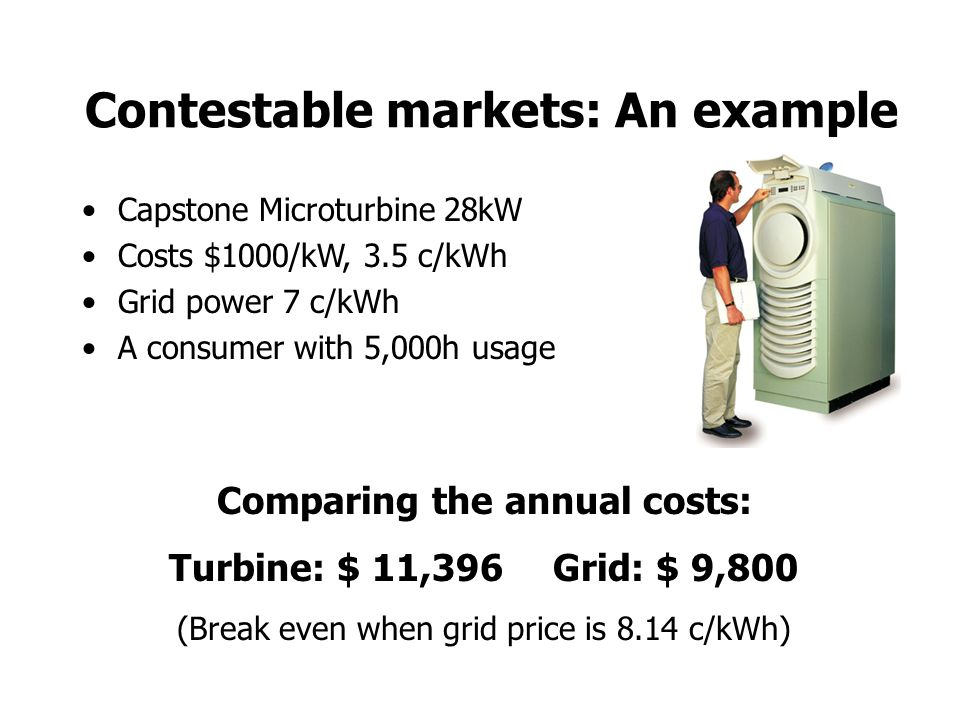 Contestable markets: An example Capstone Microturbine 28kW Costs $1000/kW, 3.5 c/kWh Grid power 7 c/kWh A consumer with 5,000h usage Comparing the annual costs: Turbine: $ 11,396Grid: $ 9,800 (Break even when grid price is 8.14 c/kWh)
