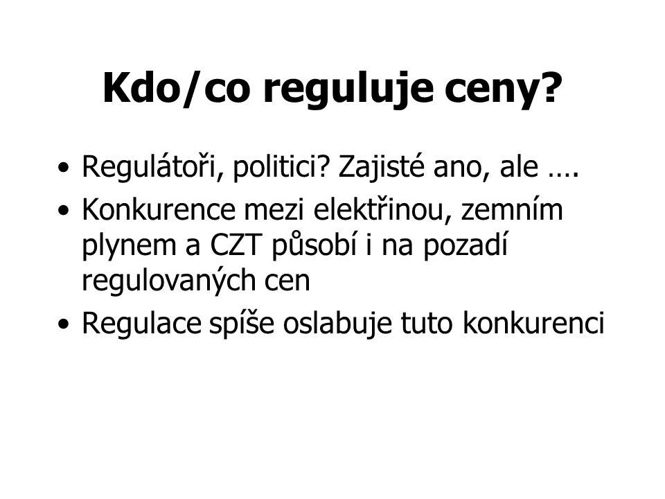 Kdo/co reguluje ceny? Regulátoři, politici? Zajisté ano, ale …. Konkurence mezi elektřinou, zemním plynem a CZT působí i na pozadí regulovaných cen Re