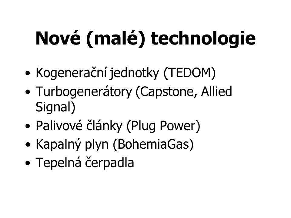 Nové (malé) technologie Kogenerační jednotky (TEDOM) Turbogenerátory (Capstone, Allied Signal) Palivové články (Plug Power) Kapalný plyn (BohemiaGas) Tepelná čerpadla