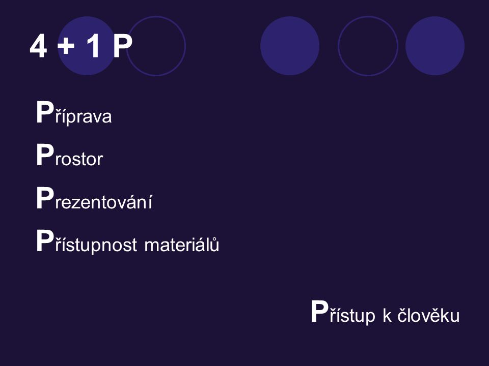 4 + 1 P P říprava P rostor P rezentování P řístupnost materiálů P řístup k člověku
