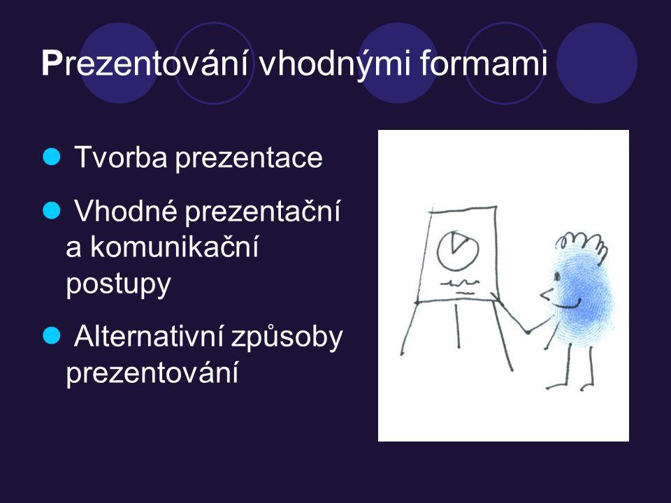 Prezentování vhodnými formami Tvorba prezentace Vhodné prezentační a komunikační postupy Alternativní způsoby prezentování
