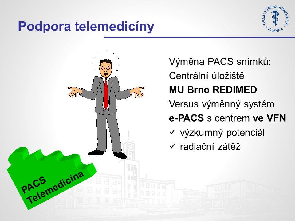 Podpora telemedicíny PACS Telemedicína Výměna PACS snímků: Centrální úložiště MU Brno REDIMED Versus výměnný systém e-PACS s centrem ve VFN výzkumný potenciál radiační zátěž