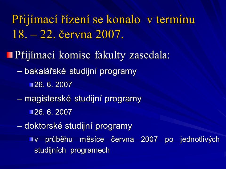 Přijímací řízení se konalo v termínu 18. – 22. června 2007. Přijímací řízení se konalo v termínu 18. – 22. června 2007. Přijímací komise fakulty zased