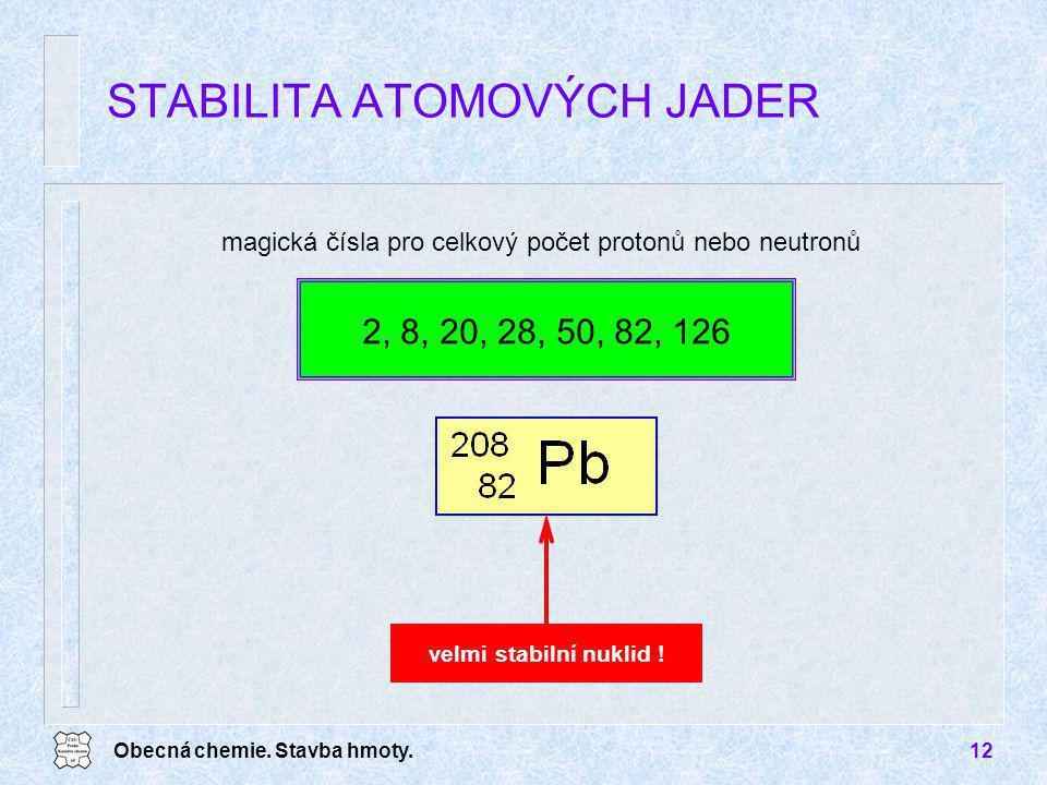 Obecná chemie. Stavba hmoty.12 magická čísla pro celkový počet protonů nebo neutronů STABILITA ATOMOVÝCH JADER velmi stabilní nuklid ! 2, 8, 20, 28, 5